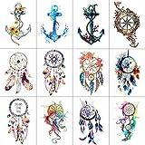Wyuen WYUEN 12 Teile/los Dreamcatcher Anker Temporäre Tattoo Aufkleber für Frauen Männer Körperkunst Wasserdichte Hand Gefälschte Tatoo 9,8X6 cm W12-10
