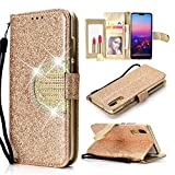 UEEBAI Wallet Flip Case for Huawei Mate 10 Lite,Glitter