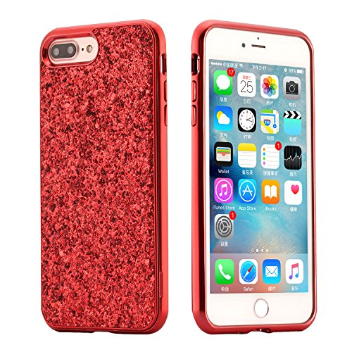 Coque iPhone 6 Plus, iPhone 6S Plus Coque Silicone Paillette, SainCat Ultra Slim Silicone Case Cover pour iPhone 6/6S Plus, Bling Bling Glitter Coque Silicone en Plastique Ultra Resistante Soft Gel TP Rouge