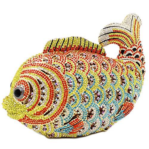 Santimon Clutch Delle Donne Lusso Bling Strass Pesce Borse Da Festa di Nozze Sera Con Tracolla Amovibile e Pacco Regalo 10 Colori oro02