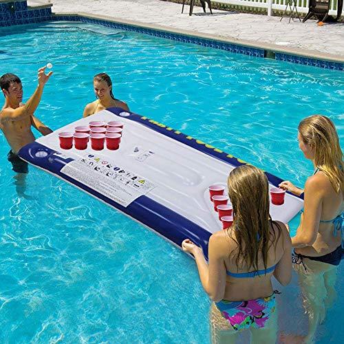 Swim Party Toys Schlauchboot Tischtennis Spielen Cup Hole Schwimmenden Row Erwachsenen Sportlichen Wasserspielzeug Trinken Bier Treiben Pad Floating Bed Lounge Stuhl Wasserspieltisch, Golden_flower