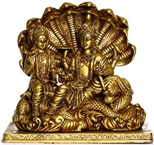 Exotic India Lord Vishnu with Lakshmi - Brass Sculpture