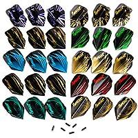 IgnatGames Plumas de Dardos (30 Piezas) 10 Sets Diferentes de Plumas de Dardos (Forma Estándar) y 6 Protectores de Plumas, Kit de Accesorios de Dardos
