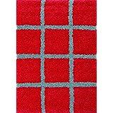 Mondial Tapis DE240-120 Moderne Shaggy-  Alfombras de polipropileno rojo / gris 120 x 160 cm
