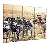 Bilderdepot24 Kunstdruck - Zebras im Sonnenuntergang - Bild auf Leinwand - 180x120 cm vierteilig XXL - Leinwandbilder - Bilder als Leinwanddruck - Wandbild