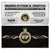 Einladungskarten zum Geburtstag (30 Stück) VIP Einladung Karte mit UV-Lack