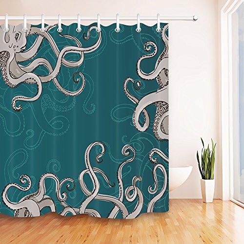 Octopus Kraken con sonda Cortina de la ducha de la decoración del cuarto de baño de la tela del...