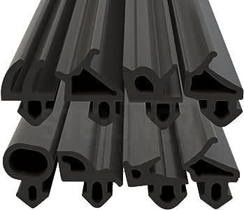 Schlauchdichtung R6160 Meterware Schwarz Dichtungen aus Gummi f/ür Fenster und T/üren aus uPVC