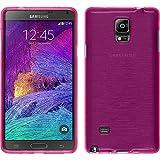 PhoneNatic Custodia Compatibile con Samsung Galaxy Note 4 Cover Rosa Caldo Brushed Galaxy Note 4 in Silicone + Pellicola Protettiva