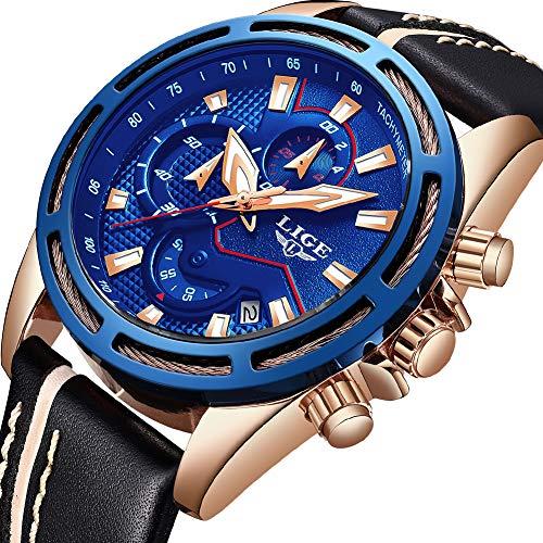 Marque de Luxe LIGE Hommes Montres Analogique Quartz Montre Hommes Sport Étanche Chronographe Élégant en Cuir Montre Bracelet Bleu