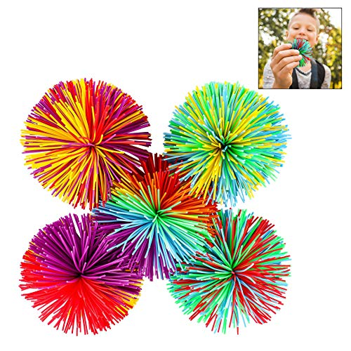 Iwobi palla giocattolo per bambini,5 pezzi palla giocattolo in silicone colorato,palla rimbalzante mini-teste di riccio,regalini premio per bambini