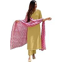 ANNI DESIGNER Women's Cotton Blend Leheria Printed Kurta and Palazzos & Dupatta Set