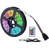 LED Strip Light, 5050 RGB Waterdichte Decoratieve Lichtstrip met Afstandsbediening, USB Led Neon Strip met 16 kleuren en 4 mo