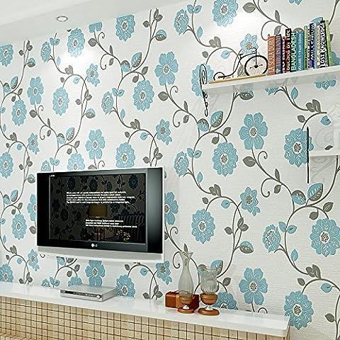 Non-tessuto carta da parati in rilievo 3D camera da letto calda paese camere da letto casa con adesivi fiore sfondo tappezzeria , 86803 days