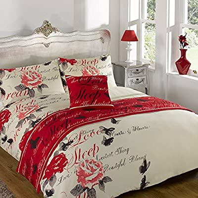 Odette Red Quilt Bed in a Bag set Single Double King Size Super King Size produced by Dreamscene - quick delivery from UK.