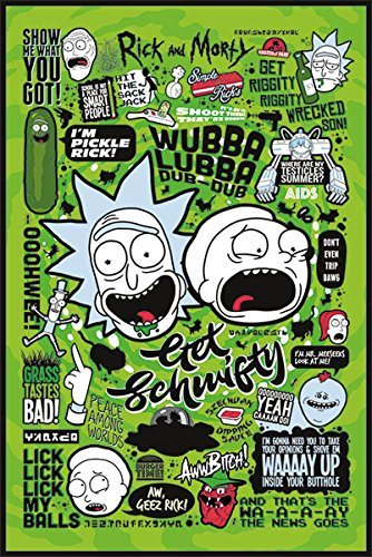 Póster Rick and Morty - Quotes/Citas 2 (61cm x 91,5cm) + 2 marcos tra