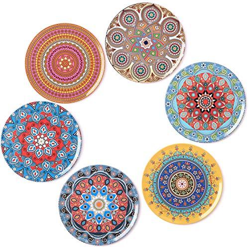 BOHORIA® Premium Design Untersetzer (6er Set) - Dekorative Untersetzer für Glas, Tassen, Vasen, Kerzen auf ihrem Esstisch aus Holz, Glas oder Stein (rund | 9cm) (Mandala Edition)