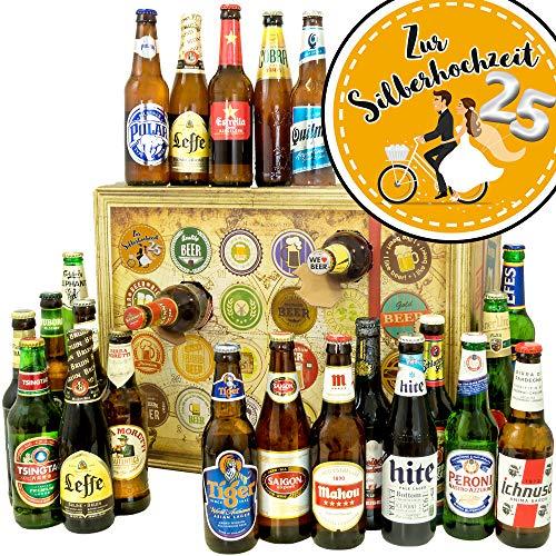 Zur Silberhochzeit ❤️ Bieradventskalender mit Bieren aus aller Welt ❤️ Glückwünsche zur Silberhochzeit ❤️ INKL gratis Bierbuch