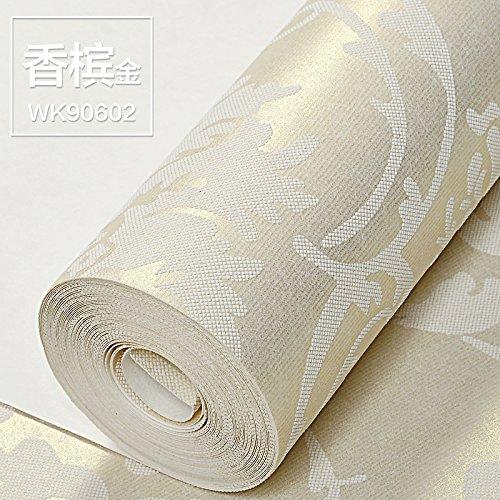 Panno non tessuto 3D stereo Damasco continentale solido sfondo goffrato camera da letto soggiorno , sfondo Oro champagne