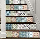 YFXGSTLI Traditionelle Muster Treppenaufgänge Aufkleber Wandkunst Dekor Treppenstufen Dekoration Wandbild Aufkleber 6 Teile/Satz 18 * 100 cm