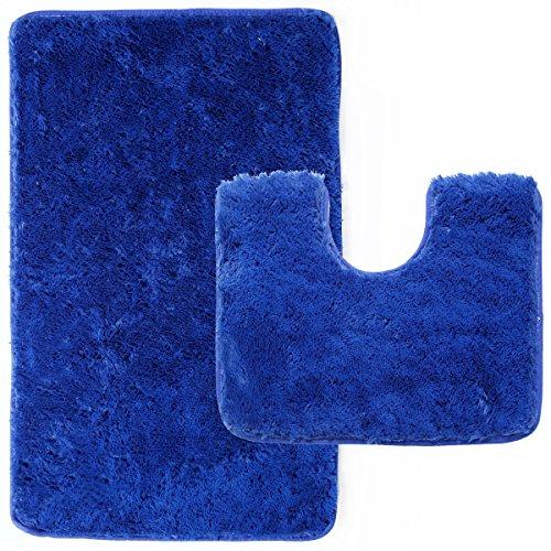 Anladia 2er. Blaues Set Badematten Badematte 40 x 50 cm und Badteppich 50 x 80 cm Rutschfest & Waschbar Geeignet für Fußbodenheizung & Badezimmer Badvorleger Duschvorleger