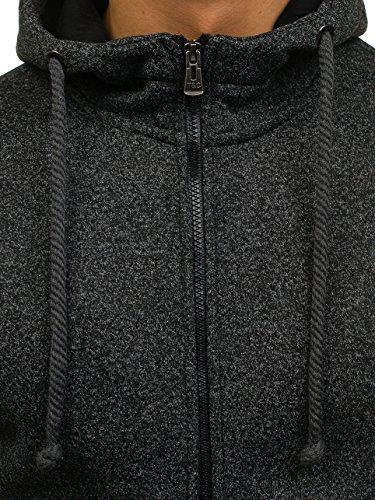 BOLF Herren Sweatshirt mit Kapuze Reißverschluss Pullover Basic sportlicher Stil Mix 1A1 Schwarz_TC12