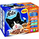 Felix Wet Cat Food Sensations Sauce Surprise Fish Selection Pouch, 12 x 100 g - Pack of 4