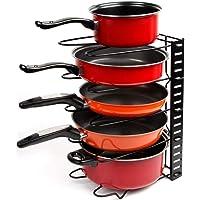 Callas Height Adjustable Kitchen Cookware Organizer Pan Rack Holder, Black CA. 17