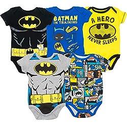 Warner Bros. Body de Superhéroes para Bebé-Niños - Batman, Robin, el Joker y Riddler (Pack de 5), 0-3 Meses