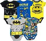 DC Comics Body Bimbo Divertenti - Batman, Robin, Joker e Riddler (Pacco da 5), Multicolore 0-3 Mesi