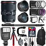 Canon EF 16-35mm F/4L Is USM Lens 9518B002 + Flash + 0.43X Wide Angle Lens + 2.2X Telephoto Lens + LED Kit + Stabilizing Handle + UV-CPL-FLD Filters + Macro Filter Kit - International Version