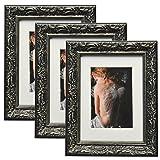 WOLTU 3er Set Bilderrahmen Foto Collage, Holz Rahmen, 13x18cm, Pappe Rückseite, Glas Vorderseite, Zum Aufstellen und Aufhängen, Barock Design, Schwarz, BR9763-3