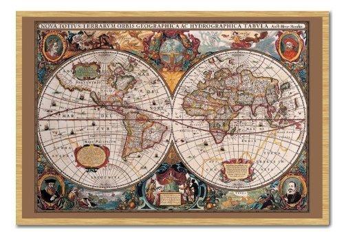 Mappa del mondo Poster stile del XVII secolo con inchiostro oro sughero Pin Lavagnetta Faggio Con Cornice-96.5x 66cms (circa 96,5x 66cm)