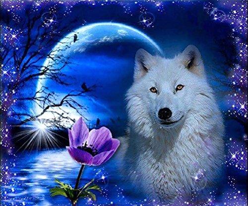 qiulv Blanc Loup DIY Peinture Broderie Résine Acrylique Strass Outil Wolfish Diamant Peinture Croix Artisanat Point Lune Bleu Lac Image Cristal Mosaïque Toile 5D Peinture , square diamond , 60*48 cm