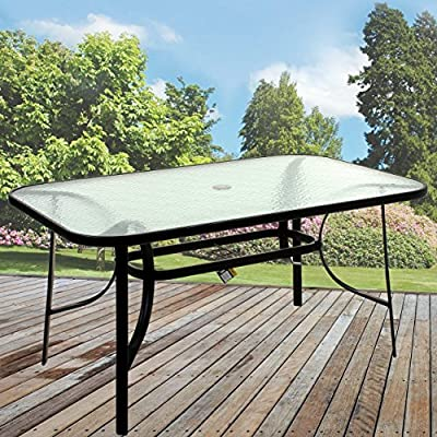 Marko Outdoor Rectangular Glass Table Outdoor Dining Patio Garden Furniture Black Metal Frame