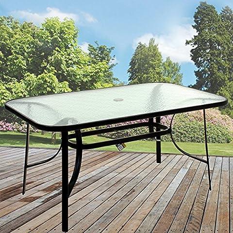 Marko Outdoor Rectangular Glass Table Outdoor Dining Patio Garden Furniture