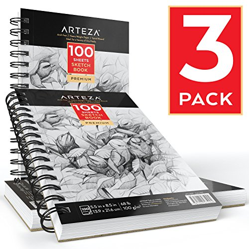 Arteza Skizze Bücher 5.5 x 8.5 - Sketch book 3 pack - 300sheets