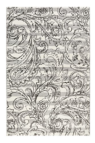 Esprit Home I Moderner Kurzflor Teppich - Läufer für Wohnzimmer, Flur, Schlafzimmer I Paisley Style I Grau Weiß I (80 x 150 cm)