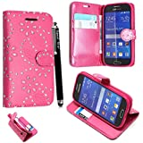 STYLEYOURMOBILE {TM} SAMSUNG GALAXY FAME S6810 PINK DIAMOND FLIP PU LEATHER CASE COVER POUCH + FREE STYLUS