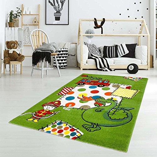 carpet city Kinder Teppich Spielteppich Flachflor Junior mit Drachen Feuerwehrmann Motiv in Grün...