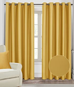 Homescapes Mustard Yellow Ochre Eyelet Ring Top Blackout Thermal