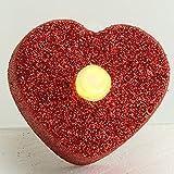 MACOSA NO88164 4er Set LED Teelicht Herz | Rot Glitzer | Hochzeits-Dekoration | inkl. Batterie | Warm-Weiß | LED Kerzen | Tisch-Deko | Romantik - 3