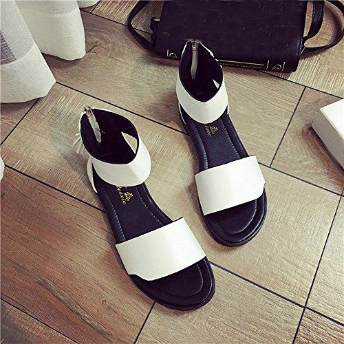 Longra Donne toe sandali piatti nappa per il tempo libero Bianca