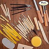 BENECREAT 40PCS Argile Sculpture Outils Pottery Carving Tool Set - Comprend Clay Shapers Color, outils de modelisation et couteau de sculpture en bois pour professionnel ou debutants