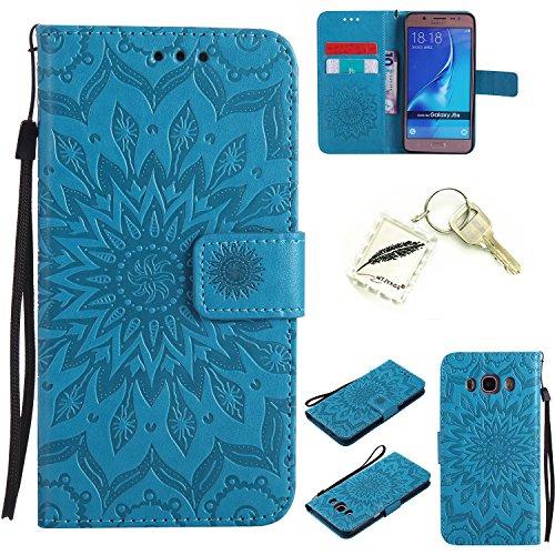 Preisvergleich Produktbild Silikonsoftshell PU Hülle für Samsung Galaxy J5 (2016)/J510 (5,2 Zoll) Tasche Schutz Hülle Case Cover Etui Strass Schutz schutzhülle Bumper Schale Silicone case+Exquisite key chain X1) #KC (3)