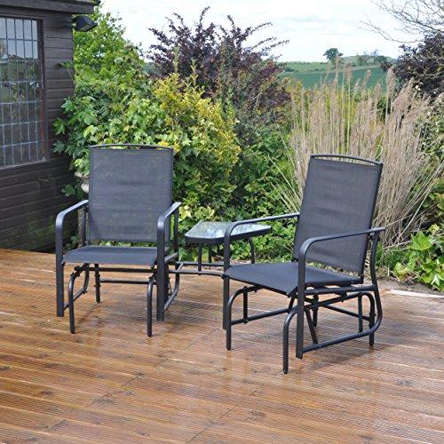 Kingfisher FSGLC Garden Patio Love Seat Rocker - Black