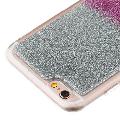 Custodia iPhone 6S Cover iPhone 6S Alfort Case Bicolor gradiente Morbida Silicone TPU Molle Impermeabile Prevenire Graffi Con polvere flash ( Argento - Rosso ) Argento - Porpora