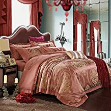 wangzhe 4 pezzi Duvet Cover Set (Regina, re) copripiumino plus 2 cuscino Shams, lusso morbido Hotel qualità Ruga ,marrone ,queen