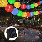 Vivibel Lanterne solaire d'extérieur 6 mètres 30 LED Lampions 2 modes IP 65 étanche Éclairage solaire extérieur pour jardin, cour, balcon, mariage, fête décorative (multicolore)