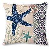 LanDu Estrella de mar Funda de Almohada Algodón de Lino Funda de Almohada Cojín Funda de cojín Sea Home Sofá Decorativo 18